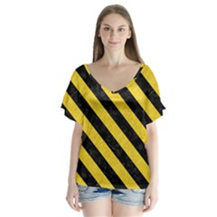 Stripes3 Black Marble & Yellow Colored Pencil V Neck Flutter Sleeve Top