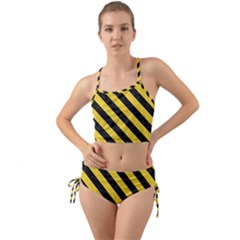 Stripes3 Black Marble & Yellow Colored Pencil Mini Tank Bikini Set