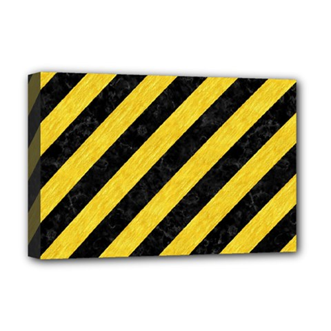 Stripes3 Black Marble & Yellow Colored Pencil (r) Deluxe Canvas 18  X 12