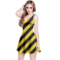 Stripes3 Black Marble & Yellow Colored Pencil (r) Reversible Sleeveless Dress