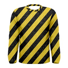 Stripes3 Black Marble & Yellow Colored Pencil (r) Men s Long Sleeve Tee