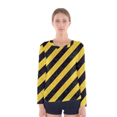 Stripes3 Black Marble & Yellow Colored Pencil (r) Women s Long Sleeve Tee