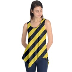 Stripes3 Black Marble & Yellow Colored Pencil (r) Sleeveless Tunic
