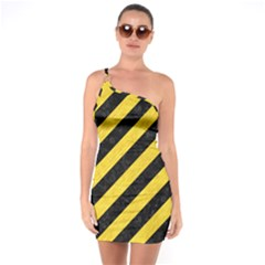 Stripes3 Black Marble & Yellow Colored Pencil (r) One Soulder Bodycon Dress