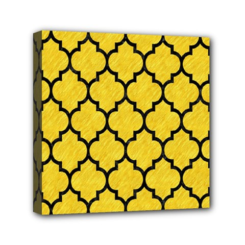Tile1 Black Marble & Yellow Colored Pencil Mini Canvas 6  X 6