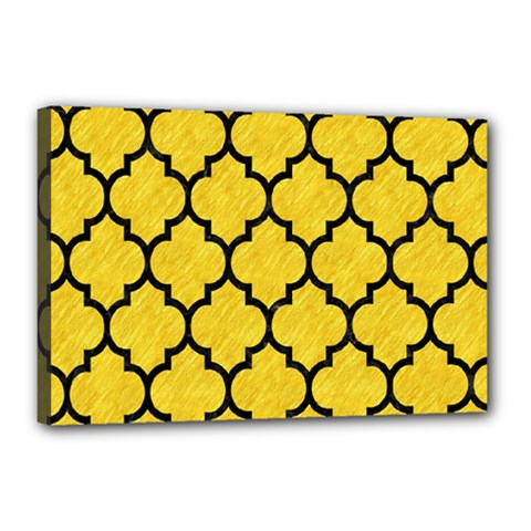 Tile1 Black Marble & Yellow Colored Pencil Canvas 18  X 12