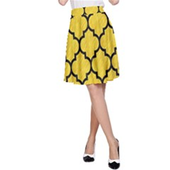 Tile1 Black Marble & Yellow Colored Pencil A Line Skirt