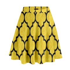 Tile1 Black Marble & Yellow Colored Pencil High Waist Skirt