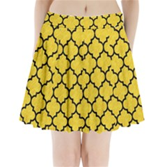 Tile1 Black Marble & Yellow Colored Pencil Pleated Mini Skirt
