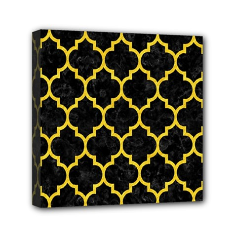 Tile1 Black Marble & Yellow Colored Pencil (r) Mini Canvas 6  X 6