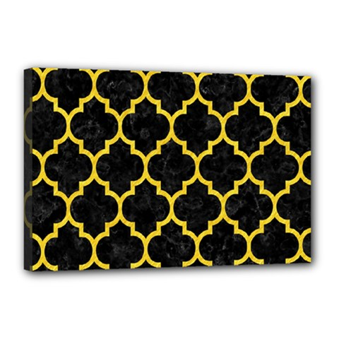 Tile1 Black Marble & Yellow Colored Pencil (r) Canvas 18  X 12