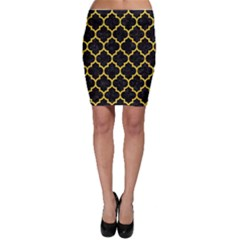 Tile1 Black Marble & Yellow Colored Pencil (r) Bodycon Skirt