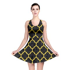 Tile1 Black Marble & Yellow Colored Pencil (r) Reversible Skater Dress
