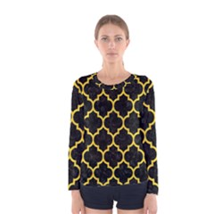 Tile1 Black Marble & Yellow Colored Pencil (r) Women s Long Sleeve Tee