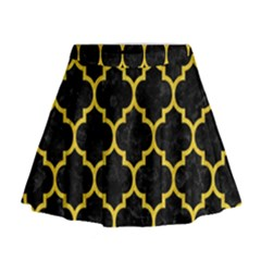 Tile1 Black Marble & Yellow Colored Pencil (r) Mini Flare Skirt