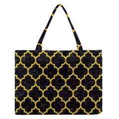 Tile1 Black Marble & Yellow Colored Pencil (r) Zipper Medium Tote Bag