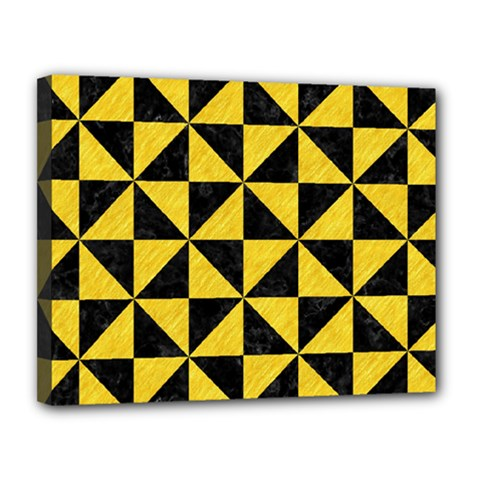 Triangle1 Black Marble & Yellow Colored Pencil Canvas 14  X 11