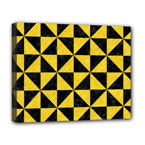 Triangle1 Black Marble & Yellow Colored Pencil Deluxe Canvas 20  X 16