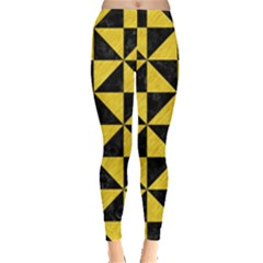 Triangle1 Black Marble & Yellow Colored Pencil Leggings