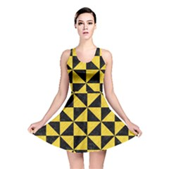 Triangle1 Black Marble & Yellow Colored Pencil Reversible Skater Dress