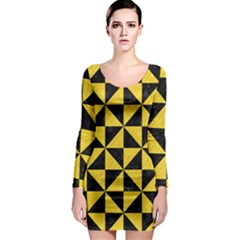 Triangle1 Black Marble & Yellow Colored Pencil Long Sleeve Bodycon Dress