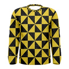 Triangle1 Black Marble & Yellow Colored Pencil Men s Long Sleeve Tee