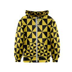 Triangle1 Black Marble & Yellow Colored Pencil Kids  Zipper Hoodie