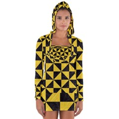 Triangle1 Black Marble & Yellow Colored Pencil Long Sleeve Hooded T Shirt