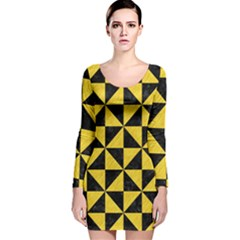 Triangle1 Black Marble & Yellow Colored Pencil Long Sleeve Velvet Bodycon Dress