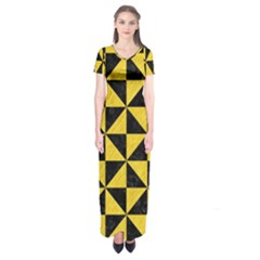 Triangle1 Black Marble & Yellow Colored Pencil Short Sleeve Maxi Dress