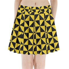 Triangle1 Black Marble & Yellow Colored Pencil Pleated Mini Skirt