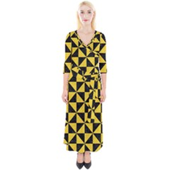 Triangle1 Black Marble & Yellow Colored Pencil Quarter Sleeve Wrap Maxi Dress