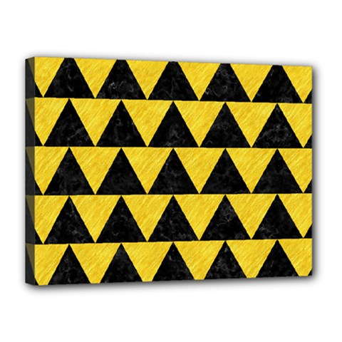 Triangle2 Black Marble & Yellow Colored Pencil Canvas 16  X 12