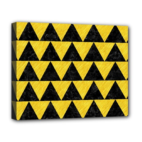 Triangle2 Black Marble & Yellow Colored Pencil Deluxe Canvas 20  X 16