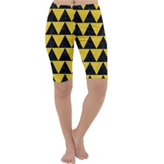 Triangle2 Black Marble & Yellow Colored Pencil Cropped Leggings