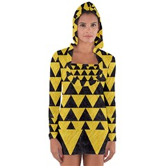 Triangle2 Black Marble & Yellow Colored Pencil Long Sleeve Hooded T Shirt