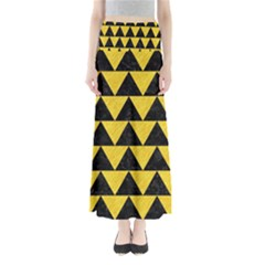 Triangle2 Black Marble & Yellow Colored Pencil Full Length Maxi Skirt