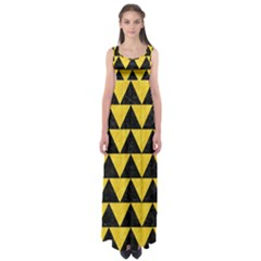 Triangle2 Black Marble & Yellow Colored Pencil Empire Waist Maxi Dress