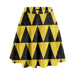 Triangle2 Black Marble & Yellow Colored Pencil High Waist Skirt