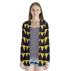 Triangle2 Black Marble & Yellow Colored Pencil Drape Collar Cardigan