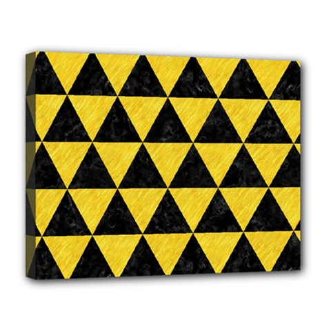 Triangle3 Black Marble & Yellow Colored Pencil Canvas 14  X 11