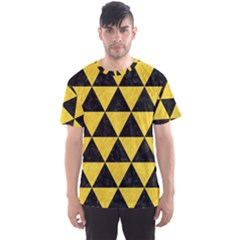 Triangle3 Black Marble & Yellow Colored Pencil Men s Sports Mesh Tee