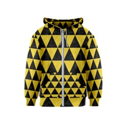 Triangle3 Black Marble & Yellow Colored Pencil Kids  Zipper Hoodie