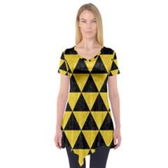 Triangle3 Black Marble & Yellow Colored Pencil Short Sleeve Tunic