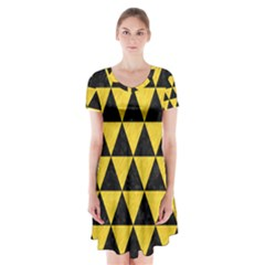 Triangle3 Black Marble & Yellow Colored Pencil Short Sleeve V Neck Flare Dress