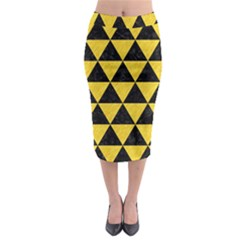 Triangle3 Black Marble & Yellow Colored Pencil Midi Pencil Skirt