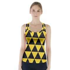 Triangle3 Black Marble & Yellow Colored Pencil Racer Back Sports Top