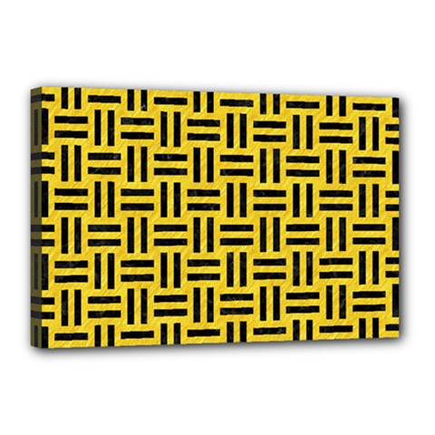 Woven1 Black Marble & Yellow Colored Pencil Canvas 18  X 12