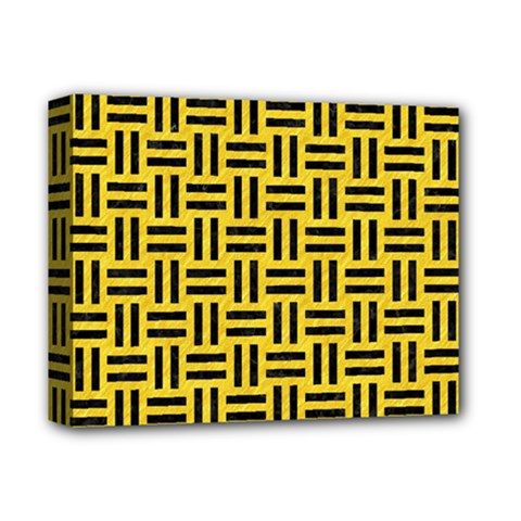 Woven1 Black Marble & Yellow Colored Pencil Deluxe Canvas 14  X 11