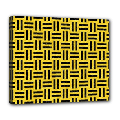 Woven1 Black Marble & Yellow Colored Pencil Deluxe Canvas 24  X 20